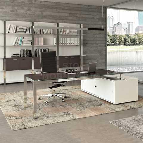 Sio mobiliario oficina madrid mesa despacho x4 cristal - Mesa despacho cristal ...
