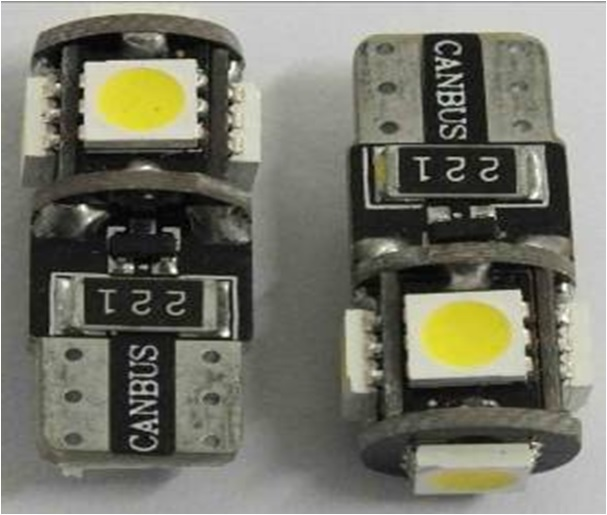 2 Bombillas 5 leds can-bus T10 (w5w)