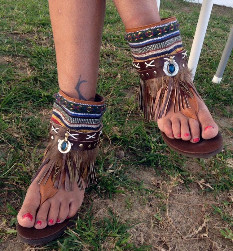 sandalias boho flecos