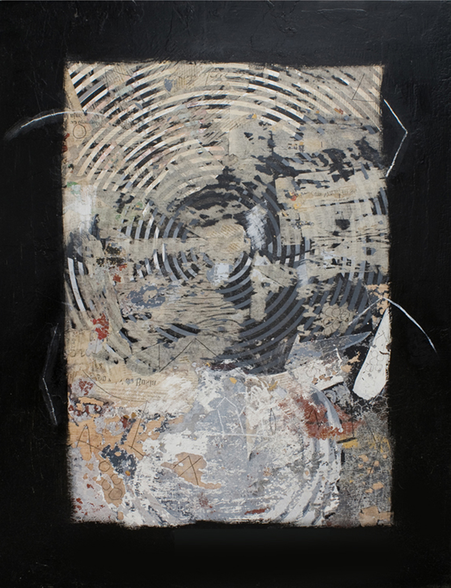 Collage y óleo sobre madera / Collage and oil on wood. 87x67 cm