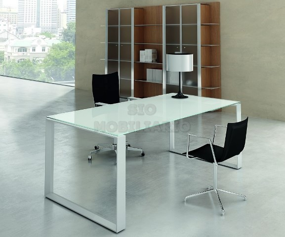 Sio mobiliario oficina madrid mesa despacho for Mesa cristal oficina