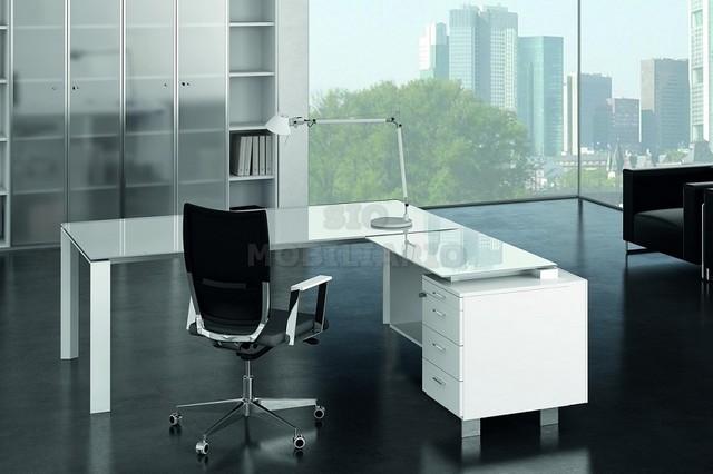 Sio mobiliario oficina madrid mesa despacho x7 cristal - Mesa cristal despacho ...