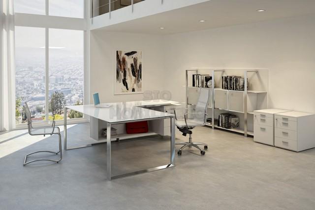 Sio mobiliario oficina madrid mesa despacho x7 cristal - Mesas de despacho de cristal ...