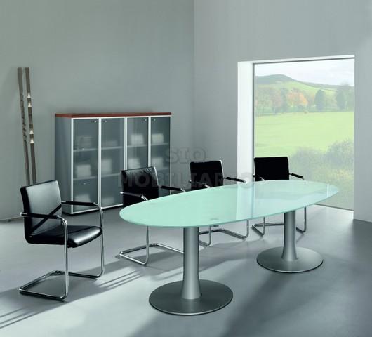 Sio mobiliario oficina madrid mesas de reuniones for Mesa cristal ovalada