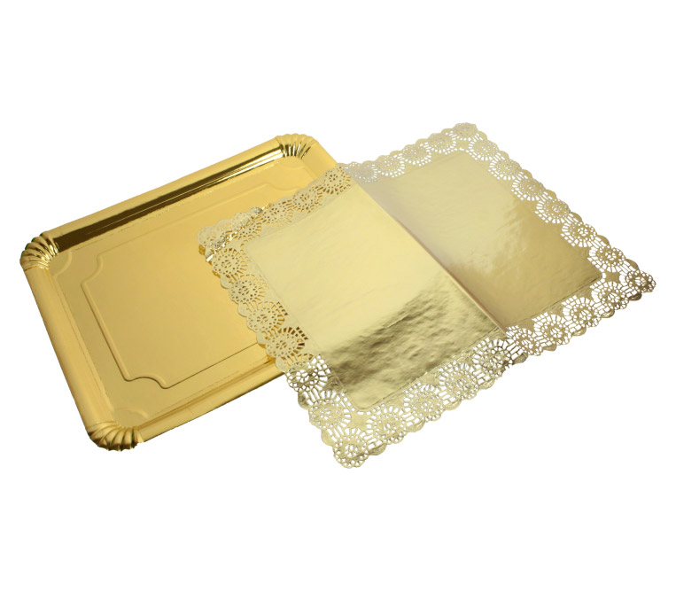 Golden Paperboard Tray + Golden Paper Doily