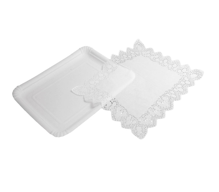 White Paperboard Tray + White Paper Doily