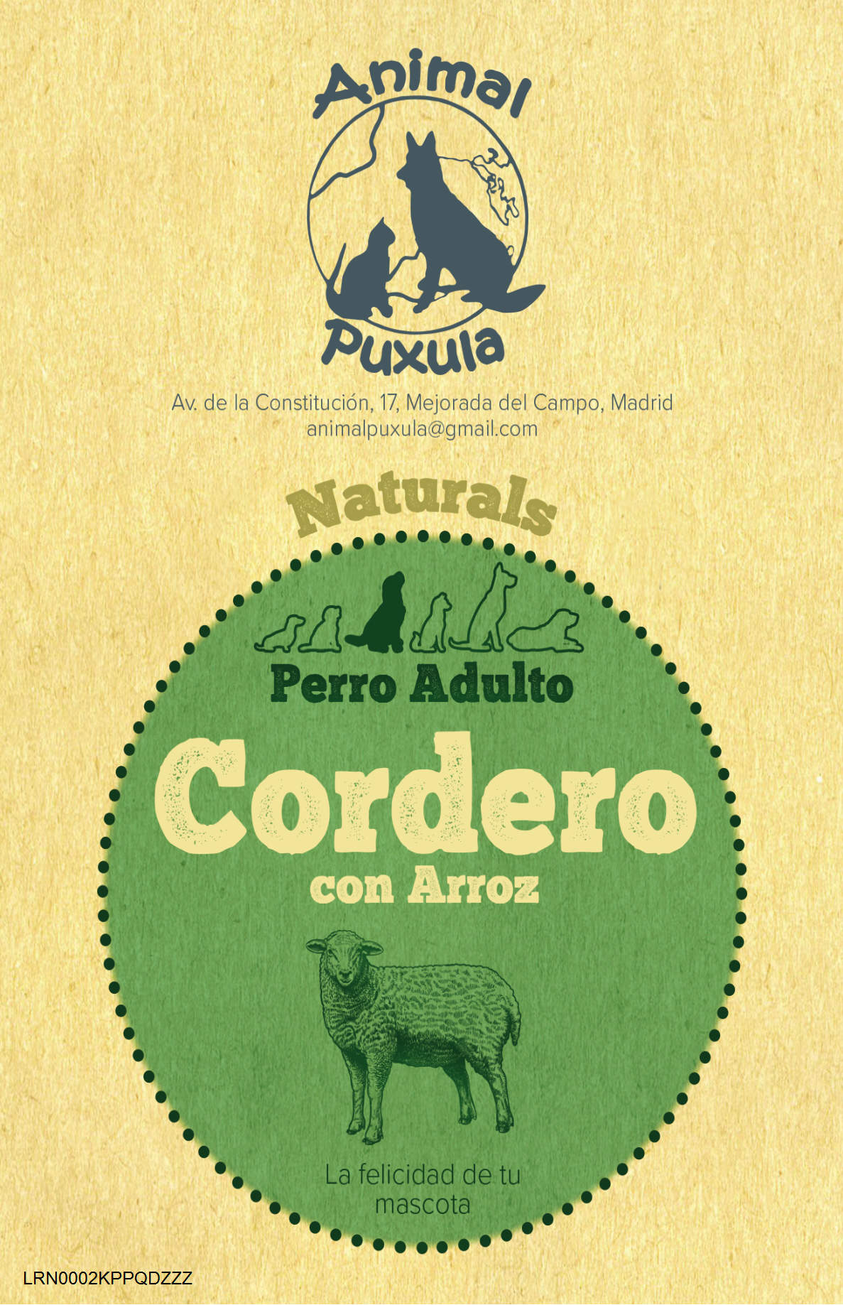 Animal Puxula Cordero Perro Adulto 2kg