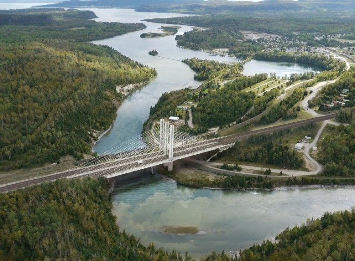 Cable-stayed Bridge on the Nippigon River in Canad