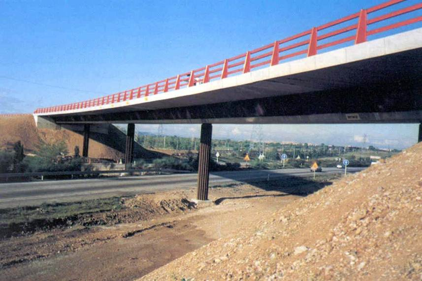 Overpass composite segment. Highway N II Spain
