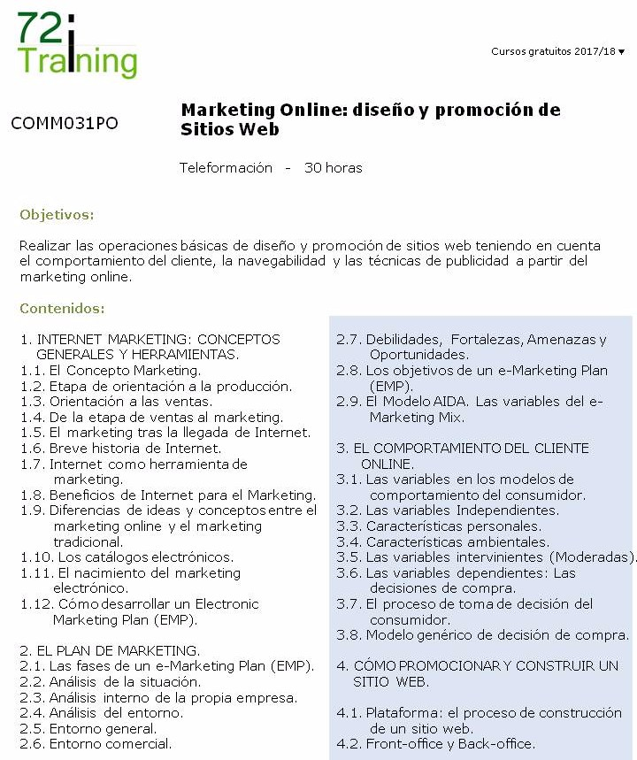 COMM031PO Marketing Online diseño y promoción de Sitios Web