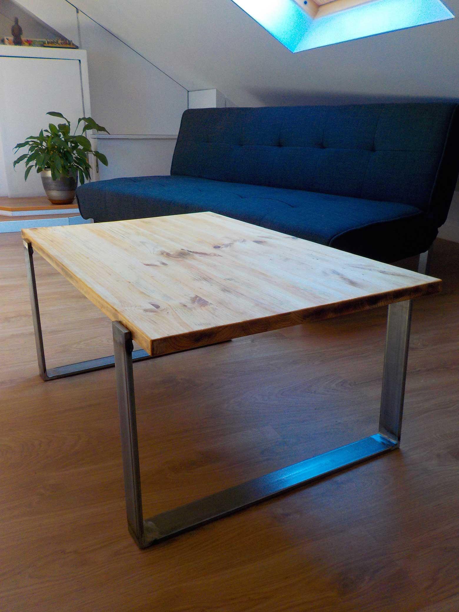 Mesa industrial de madera for Mesas de diseno industrial