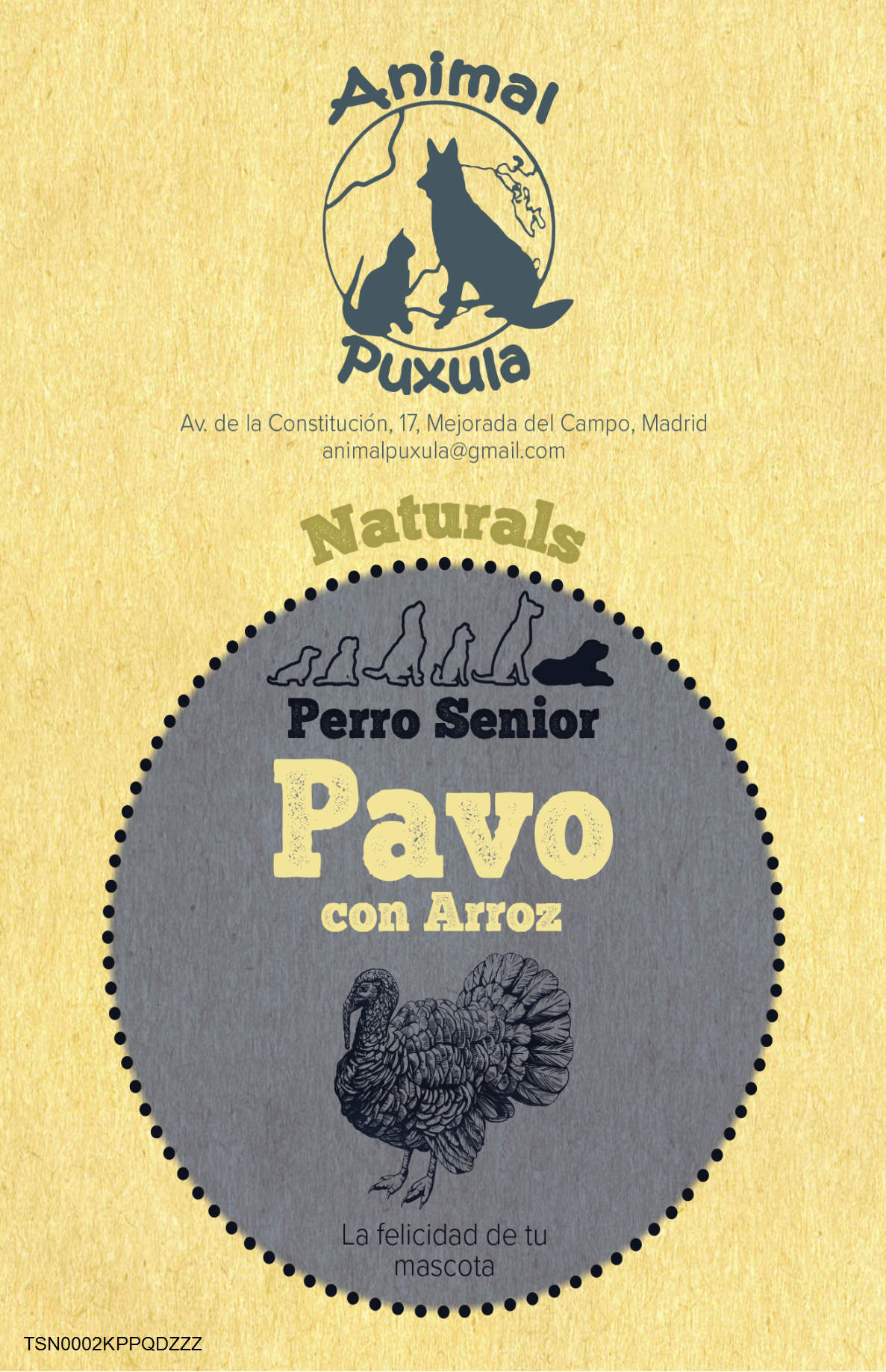 Animal Puxula Pavo con Arroz Senior + 7 años   2 kg