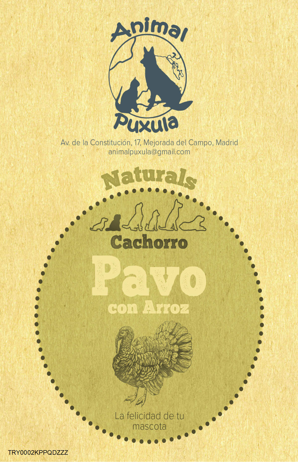 Animal Puxula Pavo con Arroz de Cachorro 12kg